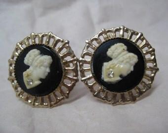 Cameo Black White Earrings Screw Gold Rhinestone Filigree Vintage Plastic