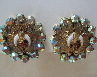 Shriner Aurora Rhinestone Earrings Screw Gold Vintage Filigree