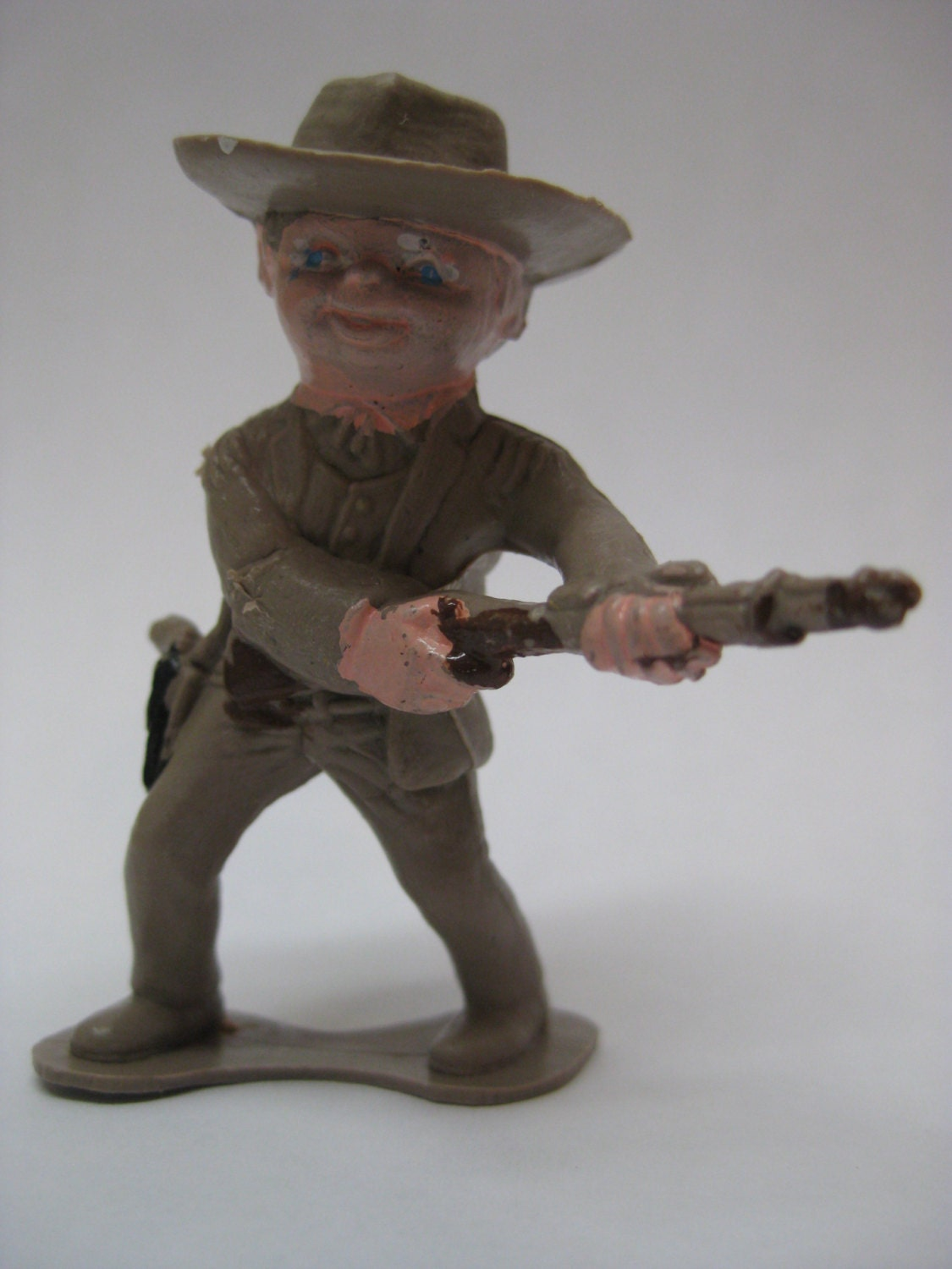 Miniature Toys For Boys : Cowboy toy boy plastic brown vintage miniature