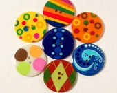 7 Large Mulitcolored Buttons Sewing Supplies Plastic Buttons Destash creativecauldron3