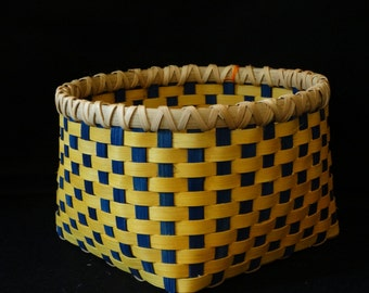 Hand Woven Basket in Golden Yellow and Royal Blue. Storage Basket. Hand made baskets in fun colors!