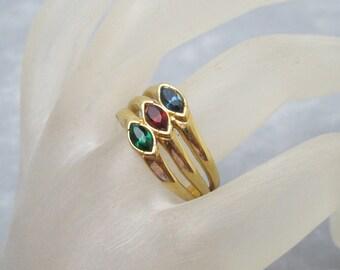 Wide Rhinestone Ring Triple Band Vintage Ring R6057