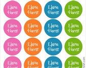girly bright dots personalized dishwasher safe labels, set of 2 sheets, 48 labels