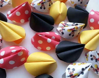 Paper Fortune Cookie Favors - Mickey Mouse, Disney Vacation 2015, Childrens Birthday Party, Disney Wedding Favors