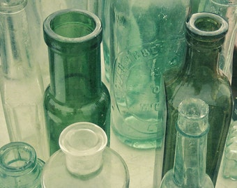 Still Life Photography, Vintage Bottles, Kitchen Wal Art, Bathroom Wall Art, Bottle Green, Shabby Chic Decor - Ten Green Bottles