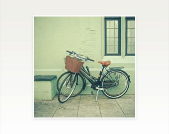 CLEARANCE SALE! Bicycle Photography, Bike Art, City Street Scene, Mint, Black and Tan - Bicycles