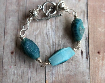 Agate Druzy Bracelet  Teal Blue Green Geode  Sterling Silver  Celestial Star Hill Tribes Beads  Rustic, Boho  Gemstone  Gift Box