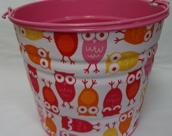 READY TO SHIP Storage or Gift Pail in Ann Kelle Pink Owls - Large Size