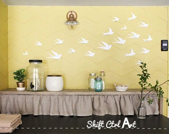 3D Bird Wall Art White Paper Birds Set of 10, Laundry Room, Living Space, Home Decor, Modern