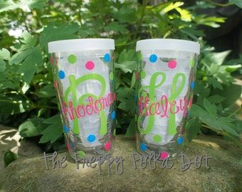 Monogram 16oz Tervis Tumbler - Name Over Initial Design