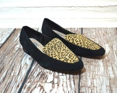 Leopard Shoes Size 8 8.5 - Leopard Print Flats - Womens Loafers - Black Leather Loafers