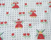 Adorable Dutch Print- Vintage Fabric Feedsack 40s 50s Novelty Tulips Windmills Wooden Shoes