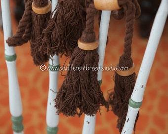 Big Mod Colorful Vintage Tassels Fringe  - Wood Beads 70s New Old Stock Brown