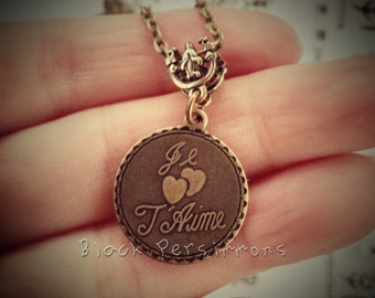 Je t'aime Double Heart Necklace - Made in USA Stamping - Insurance Included