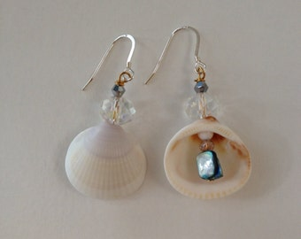 Beach wedding sea shell earrings