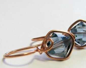 Denim Blue Crystal Earrings Wire Wrapped Copper Earrings Casual Jewelry by Pixes Treasure Chest