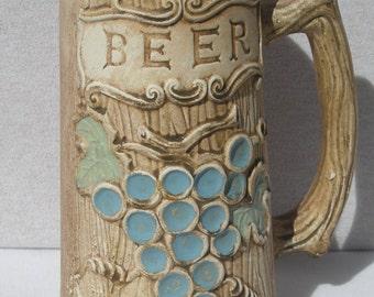 Large Ceramic Beer Stein with Wood-Pattern Tree-Like Mug Grape Cluster - Brown glaze - Barware