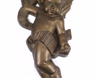 Vintage Golden Angel Figurine Made of plastic 1980s religious decor