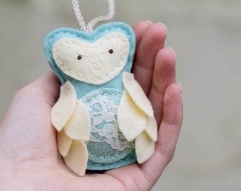 Felt Owl Ornament for Expectant Mother. Aqua Christmas Ornament. Pregnant Mother's Day Gift. New Mom Ornament.