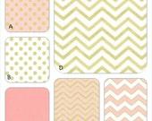 Pink Coral and Gold Metallic Custom Crib Baby Bedding Set, Michael Miller Glitz in Blush