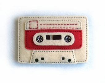 Retro Cassette Tape Hand Sewn Felt Fridge Magnet