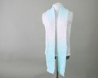 Long Aqua Ombre Crochet  Scarf for Woman