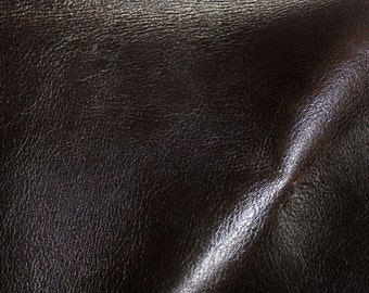 Dark Brown Heavy Leather Lot of scraps  3 square feet