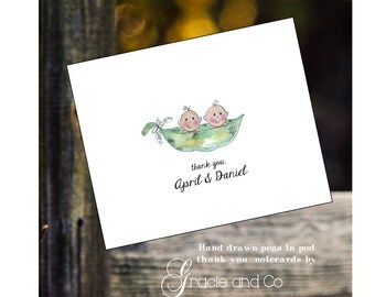 Custom handmade  hand drawn watercolor pea pod twins cards thank you notes baby shower gift twin noteards