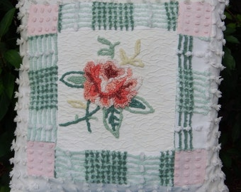 Summer's Blush Vintage Chenille Pillow