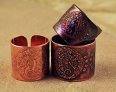 Etched Copper moongazing Hare Ring - Adjustable size