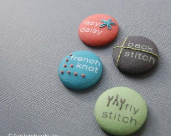 Magnets or Pinback Buttons, Hand Embroidered Modern Sampler Buttons, TREEHOUSE color set