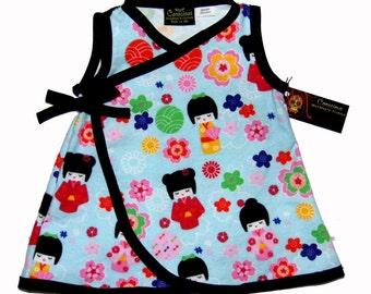 Kokeshi Doll - Geisha Kimono - Baby Girl Dress - Harajuku Dress- Blue Girls Dress - Sizes Newborn - Kawaii Dress - Kawaii Baby