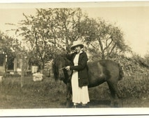 Vintage RPPC Real Photo Postcard Young Lady With Shaggy Horse At Farm Antique Photograph Post Card