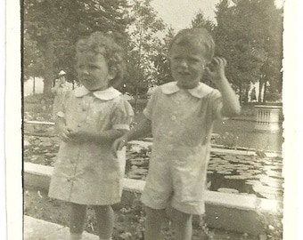 Young Love Vintage Photograph Little Girl And Boy On Date At Park Snapshot Photo