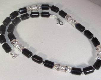 Gemstone, Swarovski Pearl and Swarovski Crystal Jewelry - Black Agate - 20 Inch Necklace
