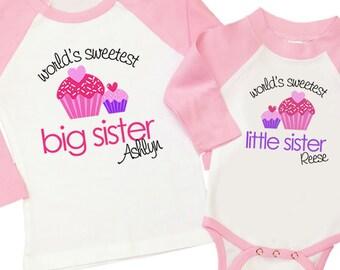 Big sister little sister sweet cupcake matching pink/white raglan style sibling set