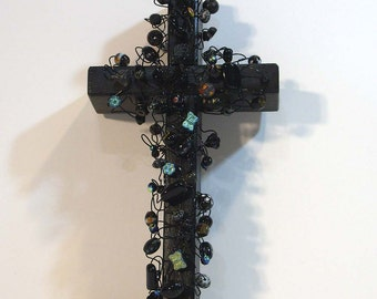 wall cross, Black Cross with Glass Beads, bead and wire art cross