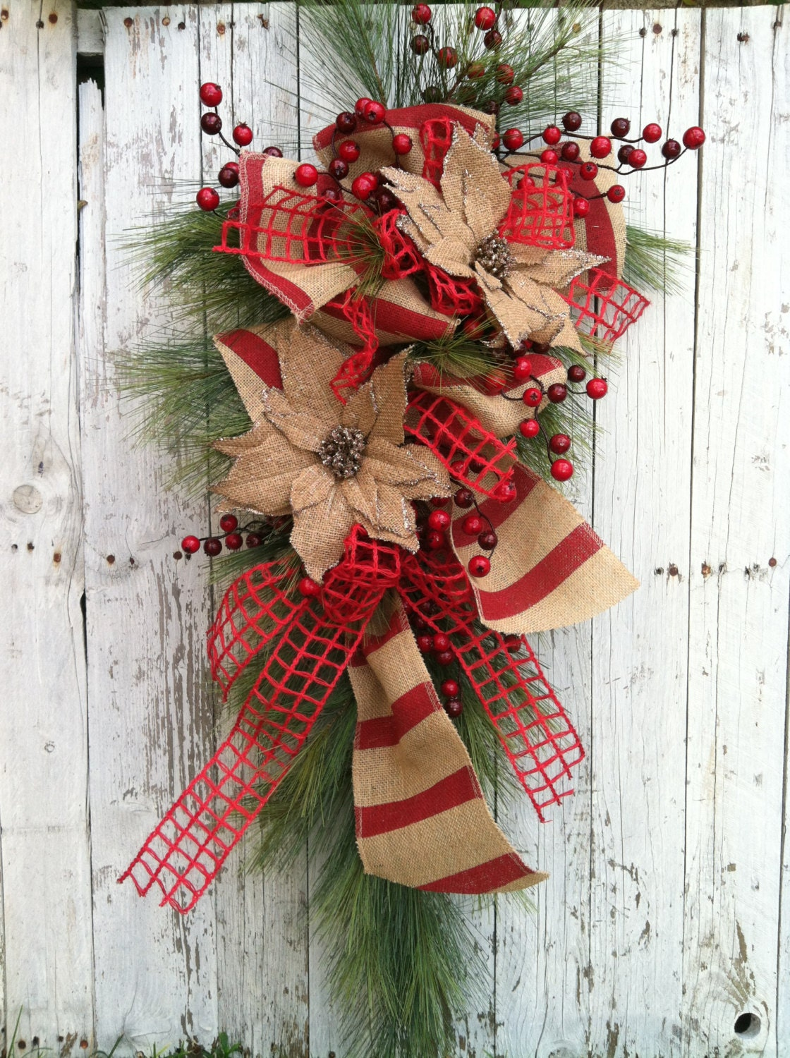 Country Burlap Christmas Swag Christmas Wreath Swag Red
