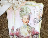 French Paris Pink Marie Antoinette Postcard Gift or Scrapbook Tags or Magnet #582