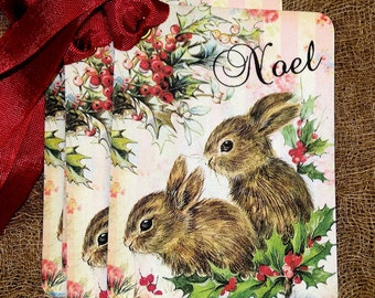 French Noel Bunny Christmas Gift or Scrapbook Tags or Magnet #509