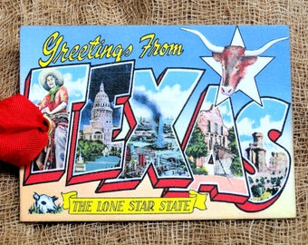 Greetings From Texas Large Letter Souvenir Postcard Gift or Scrapbook Tags or Magnet #G 3
