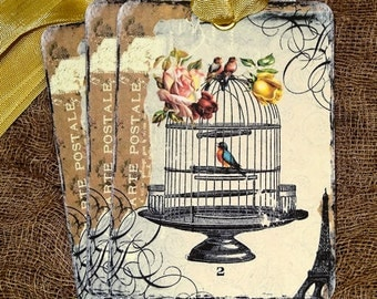 French Bird Cage Postcard Tags #115