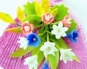 Miniature Polymer Clay Flowers Supplies Daffodil Bouquet 1 piece