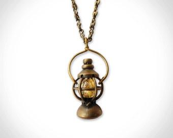 Brass Railroad Lantern Pendant 26inch long chain  citrine stone camping lamp light boho outdoorsy traveler