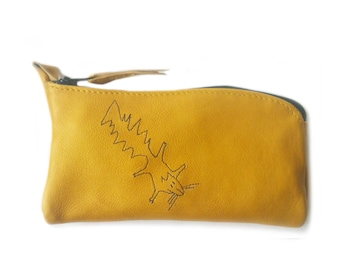 yellow leather pouch squirrel glasses phone case