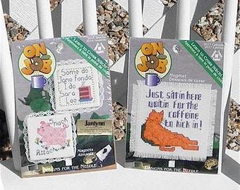 On The Job Counted Cross Stitch Kit Set of Two Caffeine Snacks Mugmat and Magnets Coaster