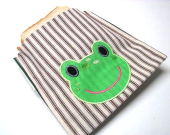 Reusable Snack Bag, Small Sandwich Bag, Eco Friendly Lunch Bag, Frog Lunch Kit, Ready to Ship