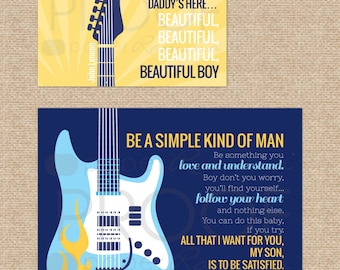 Beautiful Boy, Simple Man Rock and Roll Art set // Lynyrd Skynyrd, John Lennon // N-X44-2PS // Set of Two Prints: one 8x10 and one 11x14 AA1