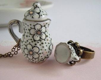 Teapot Necklace, Tea Cup Ring, Blossom Flower Miniature Ceramic Jewelry Set