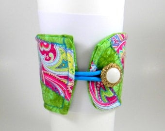 Coffee Cozy, paisley, green, pink